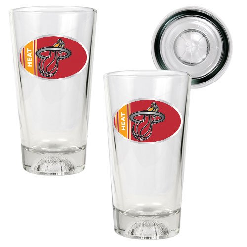 NBA Miami Heat Two Piece Pint Ale Glass Set with Basketball Bottom - Oval Logo