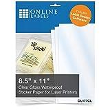 Online Labels - Waterproof Clear Gloss Sticker Paper - 8.5 x 11 Full Sheet Label (No Back Slit) - 100 Sheets - Laser Printer