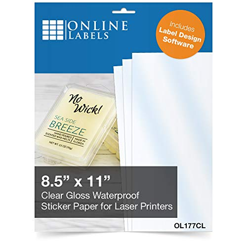 Online Labels - Waterproof Clear Gloss Sticker Paper - 100 Sheets - 8.5