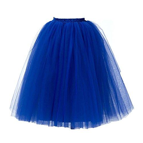 KekeHouse? Petticoat Tutu En Tulle De Femme Rockabilly Jupon Vintage Robe Rtro Jupe Pour Femmes Bleu roi