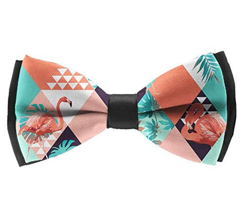 UNIQUEISME Men's Classic Pre-Tied Adjustable Length Bowtie, Party Bow Tie - Flamingo Palm Leaf - Pre Zebra Pink Palm