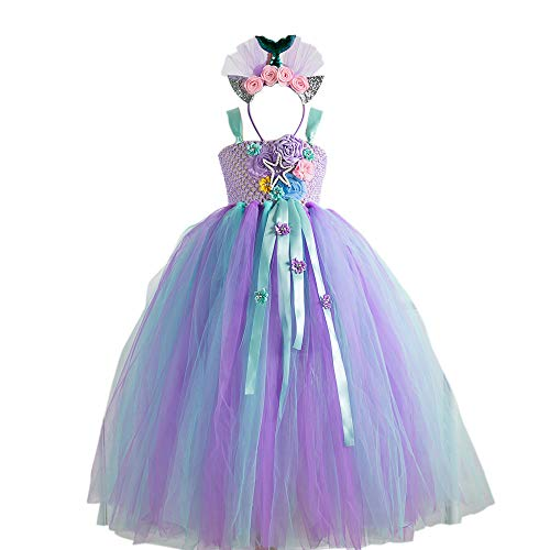 Unicorn/Mermaid Tutu Dress for Girls Unicorn/Mermaid Costume with Headband High Waist Tulle Dress for Party 4T 6T 8T 10T