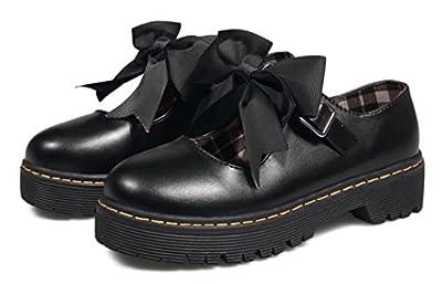 ACE SHOCK Women Oxfor Shoes Mid-Heel Cute Bowknot Girls Lolita Cosplay Shoes
