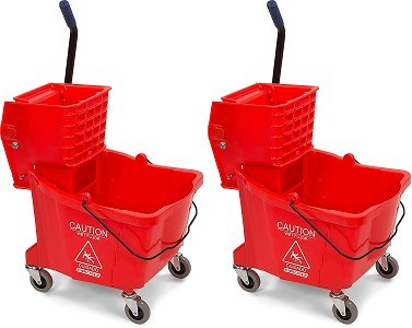Carlisle 3690405 Commercial Mop Bucket With Side Press Wringer, 35 Quart Capacity, Red (2-(35 Quart Capacity))