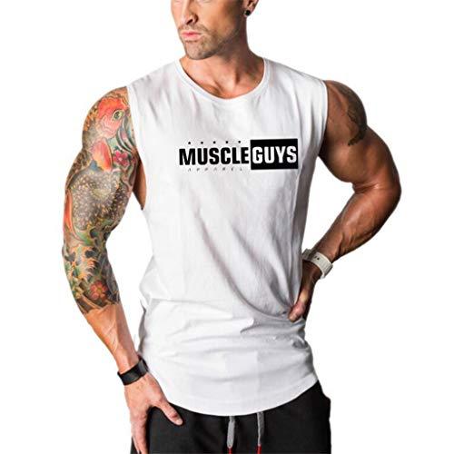 iHPH7 T-Shirt Vest Men Sleeveless Tank Top Casual Sport Gym Vest Shirt Men Fashion Round Collar Elliptical Hem Casual Fitness T-Shirt Vest L White