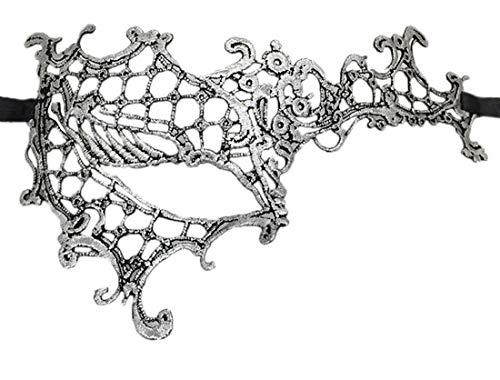 Coolwife Women's Venetian Crochet Ball Lace Masquerade Mask Halloween Fashion (Half Face Silver Black) ()