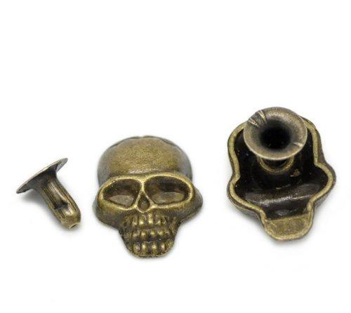 Housweety 50 Sets Bronze Tone Skull Spike Rivet Studs Spots 16x12mm(5/8x4/8), 7mm(2/8)
