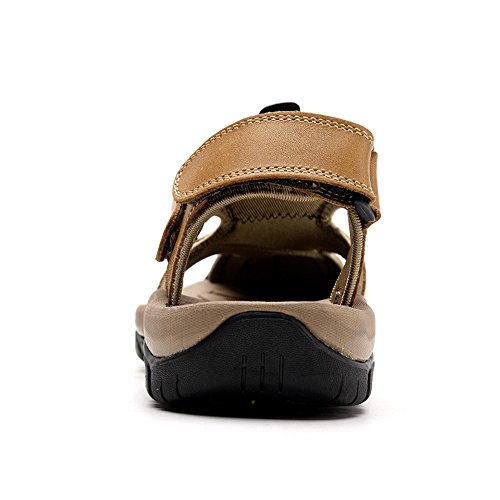 per Pelle da Uomo Antiscivolo Pantofole Scarpe Tempo da da Ruanyi Pescatore Il Pelle Pantofole Libero Spiaggia in Spiaggia Traspirante Trekking Cachi per HAFBqxwpX