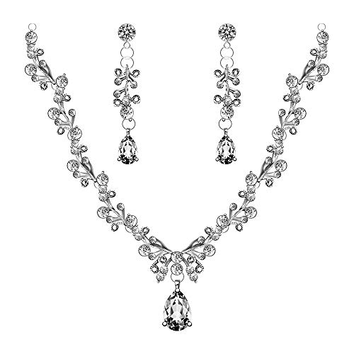 - Womens Pear Drop Crystal Bridal Jewelry Sets Earrings Necklace Wedding Sets Silver Tone by Formissky-sisa