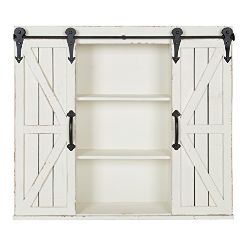 Kate and Laurel - Cates Rustic Wood Wall Storage Cabinet with Sliding Barn Doors, Antique (Rustic Wood Furniture)