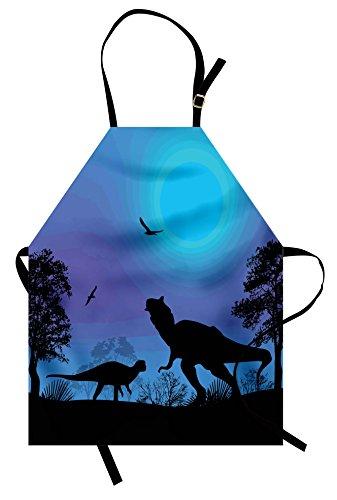 Lunarable Dinosaur Apron, Roaming Dinosaurs at Night with Deep Blue Sky Prehistoric Rural Landscape, Unisex Kitchen Bib Apron with Adjustable Neck for Cooking Baking Gardening, Black Lilac