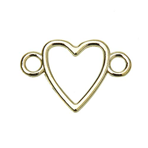 - Monrocco 100 pcs Gold Heart Connector Charms for DIY Bracelet Necklace Jewelry Findings Charms Connector