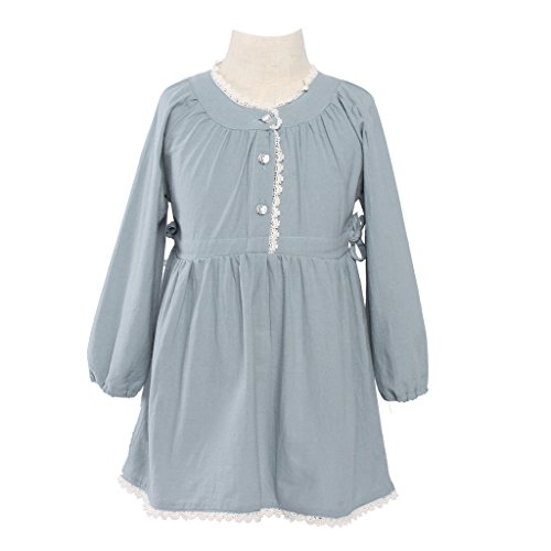 [Girls Kids Vintage Dress Lace Long Sleeve Lace Clothes Blue 7-8 Year] (Girls Halloween Dresses)