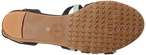 Fidji Femmes V491 Sandale Compensée Noir / Menthe