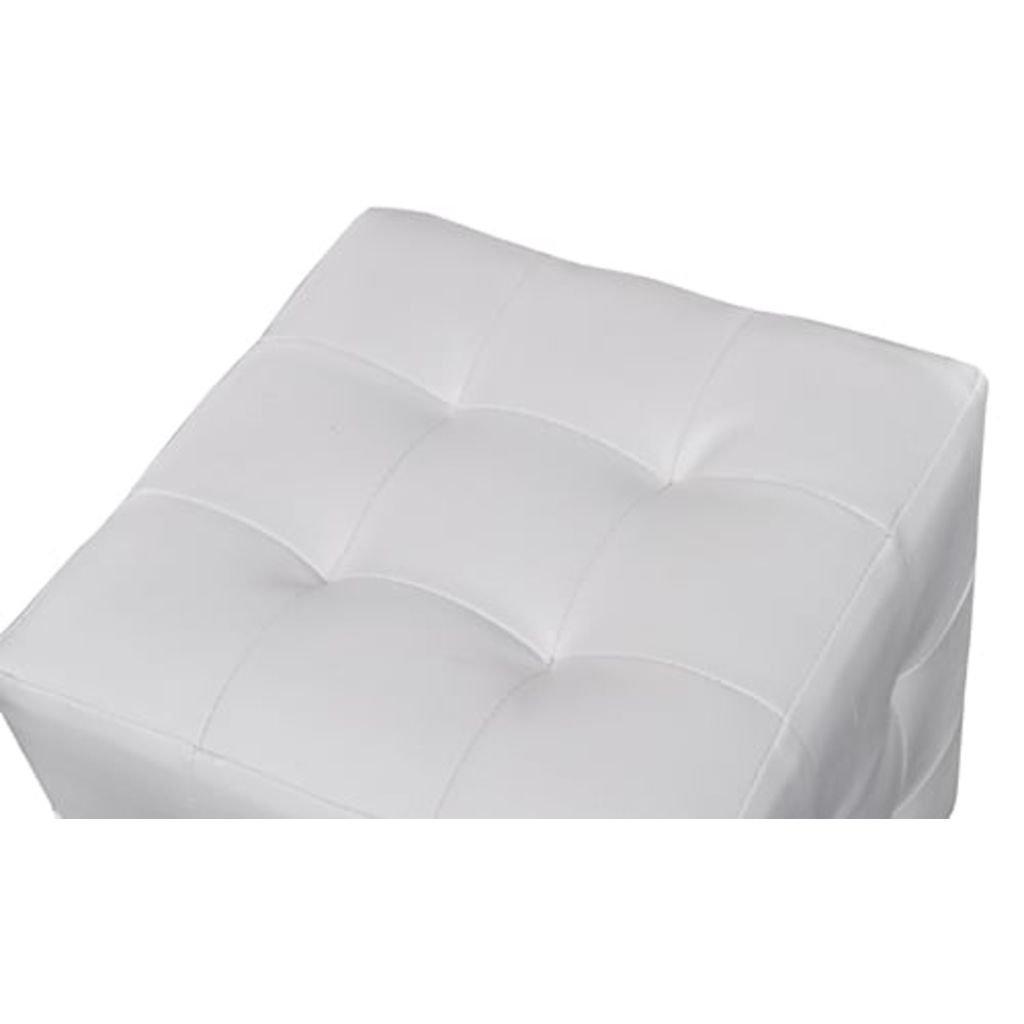 2 Cubi Pouf Imbottiti Tidyard Cubi Imbottiti Bianco Cubo Pouf Sgabello