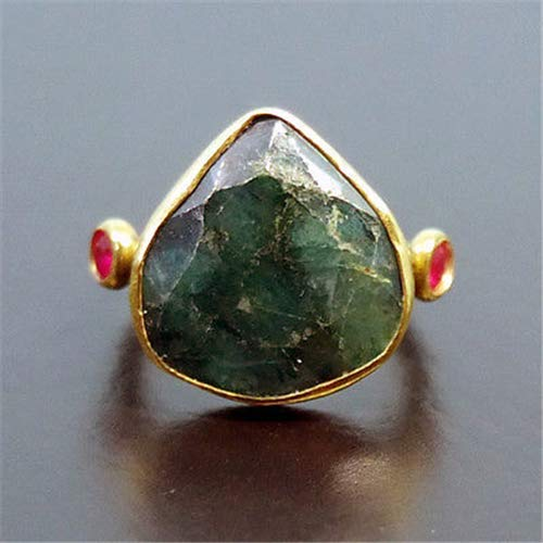 Ancient Design Handmade Hammered Drop Emerald W/Ruby Ring 22K Gold over 925 Sterling Silver ()