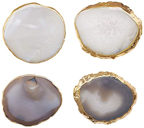 Modern Agate Coasters with Gold Edges and Rubber Bumpers (3.5