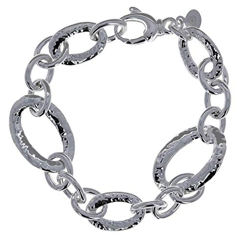 (Hammered Bracelet, 925 Sterling Silver, Oval, Round, Hammered Links, 7.75)