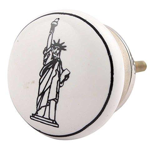 - Indianshelf Handmade 4 Piece Artistic Rust Free Wardrobe Pulls Ceramic Black Statue of Liberty Kid Home Door Knobs