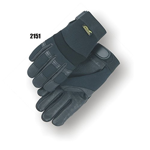 (12 Pair) Majestic DEERSKIN PALM GLOVES WITH KNIT BACK - 2X LARGE, BLACK(2151/12)