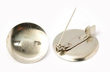 Pandahall 20pcs Platinum Plated Iron DIY Iron Brooch Findings Brooch Pad Base Cabs Bezel Blanks Trays Backs 20x7mm