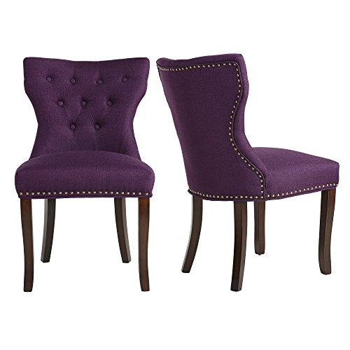 LSSBOUGHT Set of 2 Fabric Dining Chairs Leisure Padded Chairs with Brown Solid Wooden Legs,Nailed Trim,Purple (Purple Dining Set)