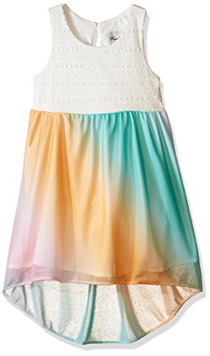 Girls Rare Editions (Rare Editions Little Girls Lace Bodice Ombre Dress, Off White/Mint/Pink, 6)