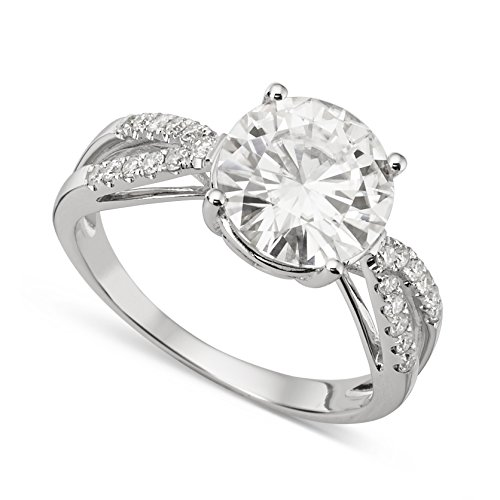 White Gold 9mm Round Forever Brilliant Moissanite Engagement Ring Size 7 by Charles & Colvard from Charles & Colvard