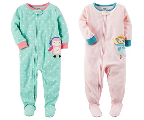 Carter's Baby Toddler Girl's 2 Pack Fleece Footed Pajama Sleep and Play Set (Zipper Closure - Aqua Heart Penguin and Pink Princess Monkey, 18 Months) - Footed Pajama Set