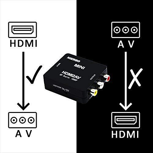 NIERBO HDMI a RCA AV Adaptador, Conversor de señal Compatible HDMI,Conversor de HDMI a RCA Soporte PAL/NTSC Interruptor
