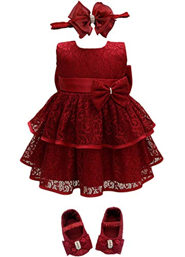 Glamulice Baby Flower Girls Dress Christmas Lace Infant First Birthday Outfit Wedding Bridesmaid Ballerina Party Dresses (0-6 Months, Red-3pcs)
