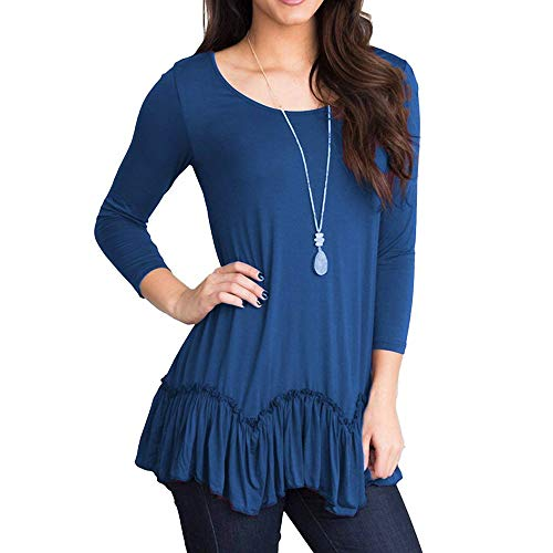 - Sunhusing Women Solid Color Ruffled Pleated Hem Seven-Point Sleeve Casual O-Neck T-Shirt