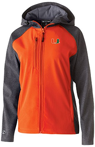 Miami Hurricanes Jacket - Ouray Sportswear NCAA Miami Hurricanes Women's Raider Soft Shell Jacket, X-Large, Carbon Print/Orange