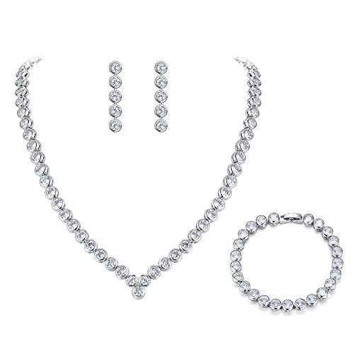 - BriLove Women's Wedding Bridal Cubic Zirconia Multi Round Cut Bezel Set Collar Necklace Tennis Bracelet Dangle Earrings Set Clear Silver-Tone
