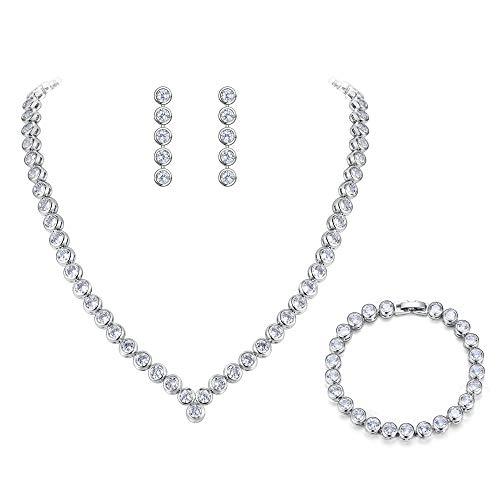 BriLove Women's Wedding Bridal Cubic Zirconia Multi Round Cut Bezel Set Collar Necklace Tennis Bracelet Dangle Earrings Set Clear Silver-Tone ()