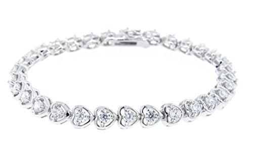 (Cate & Chloe Rosalie 18k Heart Tennis Bracelet, Women's 18k Gold Plated Tennis Bracelet with Cubic Zirconia Crystals, 7.5