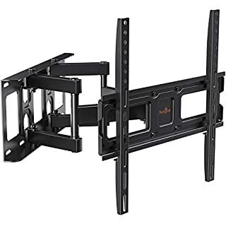 Perlegear TV Wall Mount Bracket Full Motion Dual Swivel Articulating Arms Extension Tilt Rotation, Fits Most 26-60 Inch LED, LCD, OLED Flat&Curved TVs, Max VESA 400x400mm