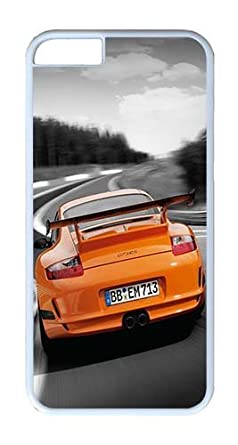 iPhone 6 Funda, iPhone 6 casos duro blanco naranja Porsche 911 Turbo para iPhone 6