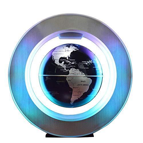 Magnetic Field Levitation - FKRLMVFC Magnetic Suspension Globe - Creative Floating Magnetic Globes/Field Levitation with LED Light Lamp for Home Desktop Decoration - 6 Inch,Black