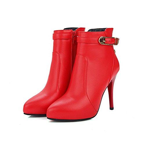 VogueZone009 Damen Rein Reißverschluss Spitz Zehe Stiletto Stiefel mit Metalldekoration, Rot, 43