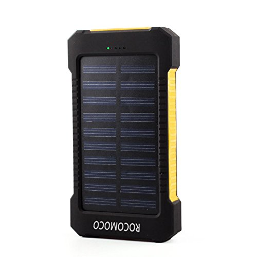 YOUNGFLY 50pcs Dual 20000mAh Solar Charger Sunpower Panel Power Bank Waterproof, Dust-Proof and Shock-Resistant Led Light, With Compass + USB Cable + Hook (Yellow) by YOUNGFLY