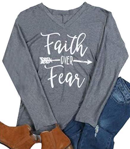 Faith Over Fear T-Shirt Women Arrow Letter Print Long Sleeve V Neck Tops Tees Size XXL (Gray) ()