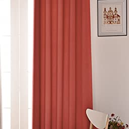 TURQUOIZE Solid Blackout Drapes, Coral, Themal Insulated, Grommet/Eyelet Top, Nursery/Girls Room Curtains Each Panel 52\