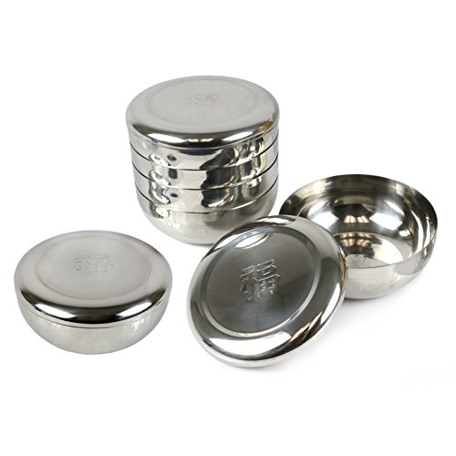 6 Sets Korean Traditional Style Stainless Steel Rice Bowl with Lid (Chinese 'Fortune' Embossed)