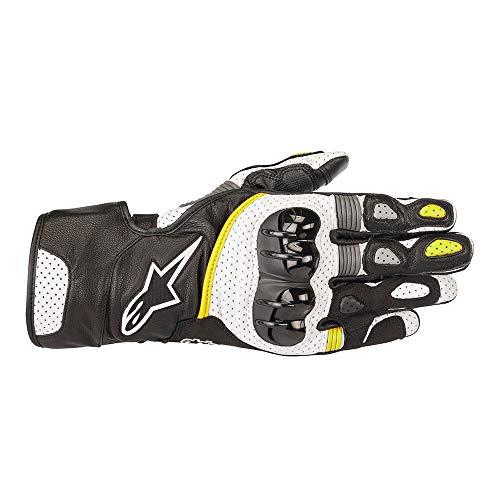Gloves Sp2 - Alpinestars SP-2 v2 Leather Gloves Black/White/Yellow Fluo LG