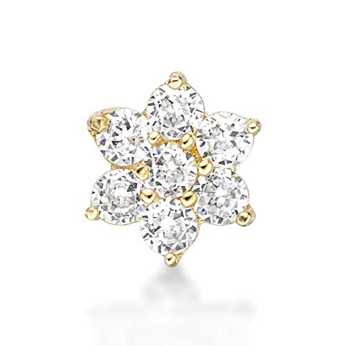 Lavari - 14K Yellow Gold Flower White Cubic Zirconium Nose Ring Straight Stud 22G (Nose Rings Straight Studs)