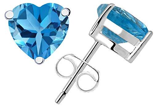 0.6 Ct Blue Swiss Blue Topaz Gemstone Birthstone 925 Sterling Silver Stud Earrings Heart Shape 4x4mm For Women