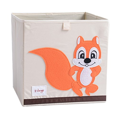 DODYMPS Foldable Animal Canvas Storage Toy Box/Bin/Cube/Chest/Basket/Organizer for Kids, 13 inch (Squirrel)