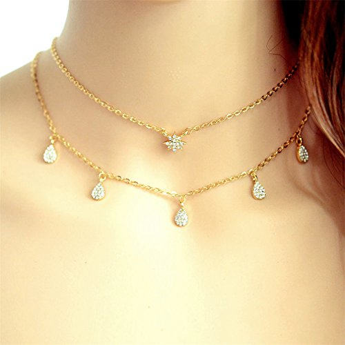 Meolin Double Layer Shiny Rhinestone Water Drops Snowflake Stars Collar Necklace (Gold Double Star)