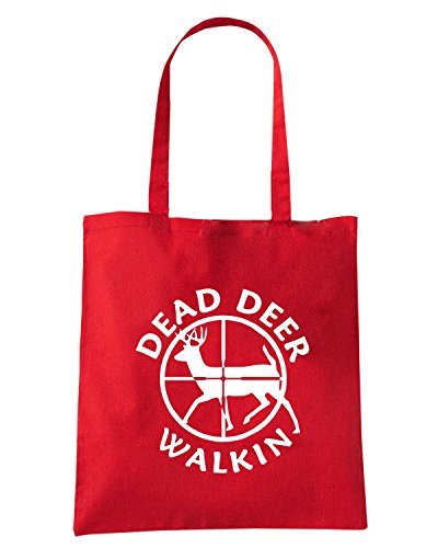 T-Shirtshock - Bolsa para la compra FUN1156 dead deer walkin vinyl hunting car decal 85347 Rojo